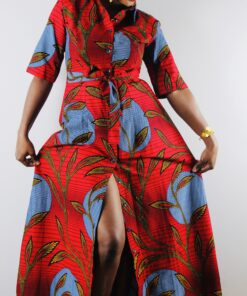Robe chemise longue rouge ceinturée en Wax, robe longue rouge, robe chemise longue