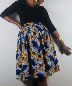 Jupe bleu et jaune à poches en Wax, Jupe jaune wax, jupe bleu wax