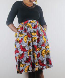 Jupe élastique avec poches en tissu Wax, jupe élastique en wax, jupe avec poches en wax
