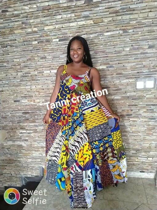 Robe patchwork longue avec imprimés, robe longue avec imprimés, robe patchwork, robe imprimés
