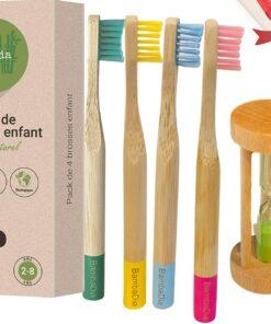 lot de 4 Brosses à dents en Bambou + Sablier en bois