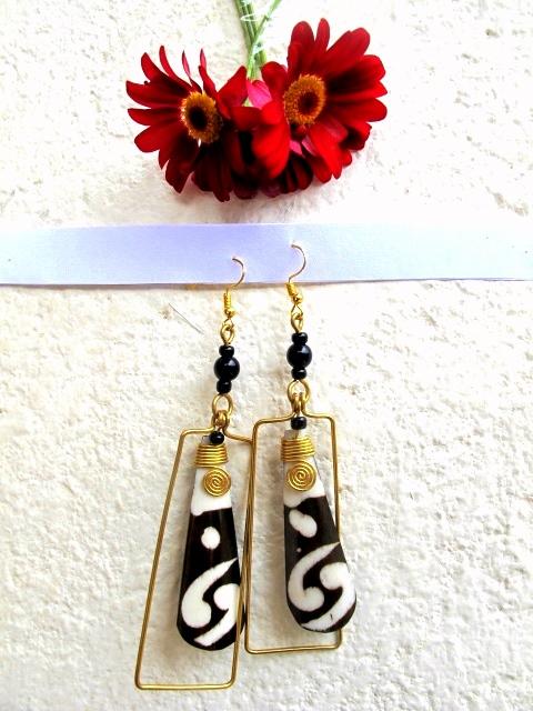 Bone Dyed and Brass Dangle Earrings