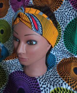 headband en wax tissu wax grotto jaune boucl'ebene by aime ti_1