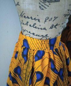 jupe wax courte jaune tissu wax africain plume de paon_1