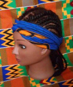 "Bandeau wax cheveux Bleu Tissu wax ""Plume de paon"" boucl'ebene by aime ti_profil"