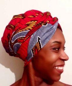 bonnet turban femme rouge tissu wax africain grotto_1
